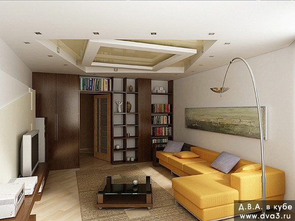 Дизайн потолков в однокомнатной квартире