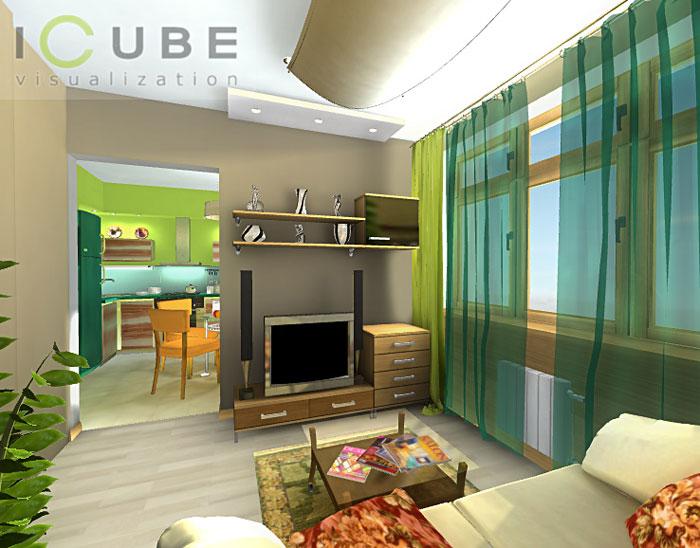 Комнатной квартиры дизайн интерьера 1