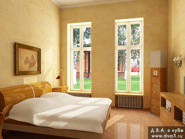 Визуализация интерьера спальни. Визуализация спальни. Вид на окно